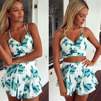 Backless Print Two Pieces Top Shorts Set Dress Suits