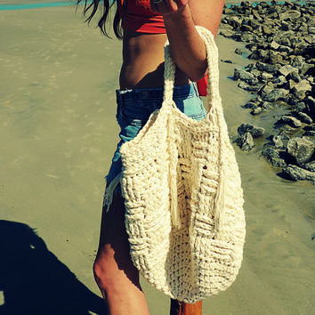 Boho Chic Summer Bag, Beach Bag, Market Tote, Fringe Bag, Produce Bag, chunky, oversized, Crochet basket bag, beige, ecru, off white