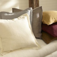 LINEN WITH SILK TRIM PILLOW COVER