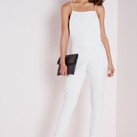 STRAPPY BACK TAILORED JUMPSUIT WHITE