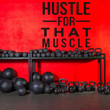 Gym Wall Decal, Inspirational Quote, Work out Quote, Muscle Workout Wall Sticker,  Garage Gym Wall Decor, Fitness Motivation Decal,  nm022