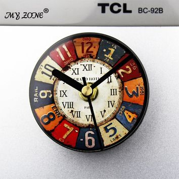 Europe Retro wall clock Metal painting clock icebox magnets message posted with drawing watch fridge magnet mute alarm clock