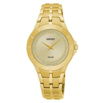 Seiko Womens Recraft Solar Watch - Champagne Dial - Gold-Tone - Bracelet