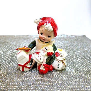 Lefton Pixie Elf Santas Helper Vintage 1950s Spaghetti Trim Christmas Home Decor
