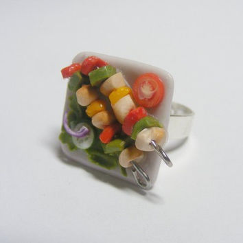 Chicken Kebabs and Salad Miniature Food Ring - Miniature Food Jewelry