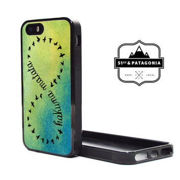 Custom Fashion Apple iPhone 5C or 5S 5 Fitted Phone Case Cover Cute Green Ombre Hakuna Matata Birds Lion King Quote
