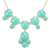 Lake blue Bubble Bib Necklace, Bubble Necklace, Bubble Jewelry(Fn0540-Lake blue)