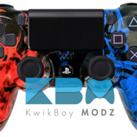 Inferno Red Blue Custom PS4 Controller