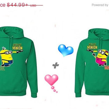 Valentine Sale He's My Minion She's My Minion Matching Couples Hoodies Sweatshirts in Green. Personalize by adding name or date