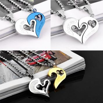 2pcs Set Heart Shape I Love You Stainless Steel Lovers Pendant Necklace Puzzle Half Heart Pendant Couple Girlfriend Jewelry