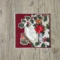 Christmas card - scrapbook greeting card - crafted postcard - red green rustic - holiday new year 2015 - europeanstreetteam