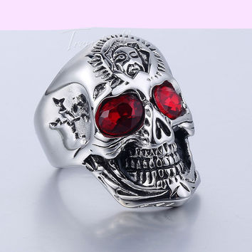 Ghost Era - Red Rhinestones Skull Ring - Silver