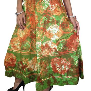 Women's Skirt Cotton Floral Tie-Dye Printed Gypsy Flared Skirts XS