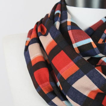plaid infinity scarf /cotton scarf