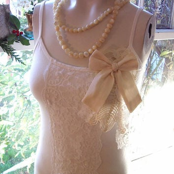 belle jour french cream ivory camisole bridal lingerie lace top hemp silk valentines day