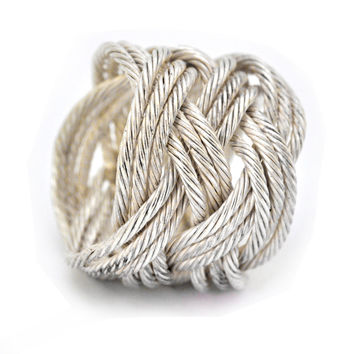 Knot Ring || Woven silver ring || Twisted silver wire || Turks Head Collection  || High fashion || Starement ring || Handmade in Israel.