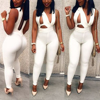 White Cut Out Sleeveless Backless Skinny Jumpsuit