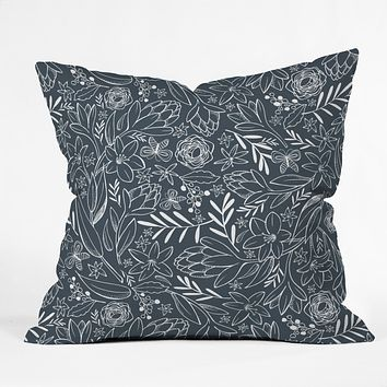 Heather Dutton Botanical Sketchbook Midnight Outdoor Throw Pillow