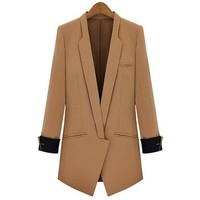 OL Style Lapel Slimming Long Sleeve Blazer For Women