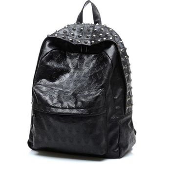 Day-First™ Black Rivest Studded Travel Bag Leather Backpack Daypack