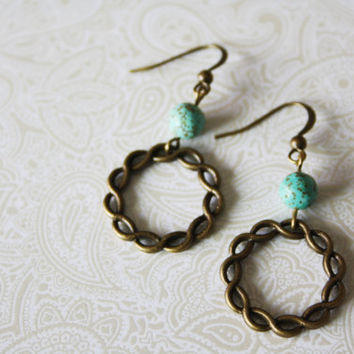 Turquoise Beaded Earrings - Infinity Circle Earrings - Braided Hoop - Antique Brass Turquoise Earrings - Everyday Jewelry