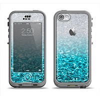 The Turquoise & Silver Glimmer Fade Apple iPhone 5c LifeProof Nuud Case Skin Set