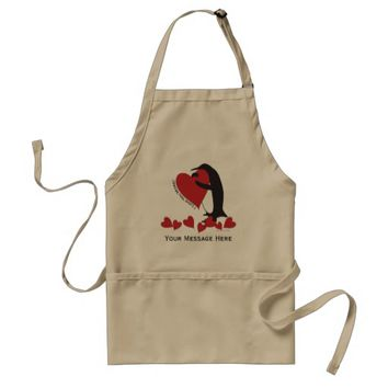 I Love You More! - Penguin and Red Hearts Adult Apron