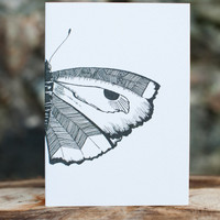 Black and white butterfly illustration card - All occasions - Birthday card - Thank you card