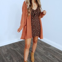 Chilly Days Cardigan: Dusty Rust