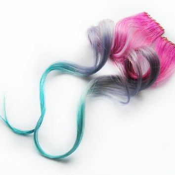 Human Hair Extension, Spring extension hair, hair extension, pink, purple, teal clip in hair, Tie Dye Colored Hair - Dazzle