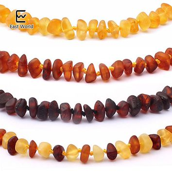 EAST WORLD Raw Unpolished Amber Bracelet/Necklace Baltic Natural Amber Beads Baby Jewelry for Boy Girls Infant Teething Gifts