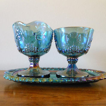 Vintage Blue Grapes Carnival Glass Creamer and Sugar, COLONY Harvest Carnival Cream & Sugar Set, 1950's Blue Iridescent Cream and Sugar