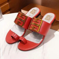 ff57540d7992 GIVENCHY New Fashion Comfortable Leather Women Sandals Slipper Shoes Red.