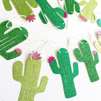 Glitter Cactus Banner - Sparkle Banner - Cactus Decor // Home Decor // Summer Party Decoration // Kids Room Decor