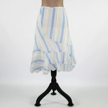Striped Cotton Skirt Women Summer Skirt Boho Skirt Aline A Line Blue & White Size 12 Skirt Large DKNY Womens Clothing
