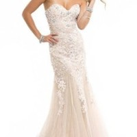Miranda Ivory Evening Prom Ball Dress Strapless Long Lace Appliques Gown Size 4-14 (6)