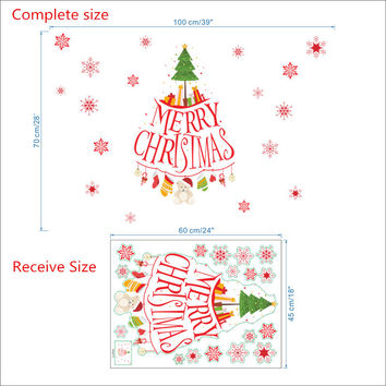 Merry Christmas Tree Gift Wall Sticker Decals Snowflake Christmas Store window glass Decoration Poster Mural Wall Art SM6