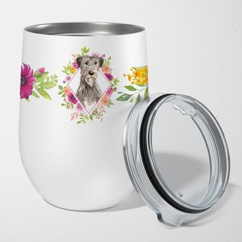 Irish Wolfhound Pink Flowers Stainless Steel 12 oz Stemless Wine Glass CK4231TBL12
