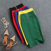 Women Skirts Summer Plus Size Knee-Length Pencil Skirt Female Vintage Split Skirts Jupe Femme Faldas Mujer