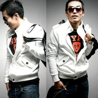 New Mens Cool Buttons Zip Up Coat Jacket Jackets Coat Outerwear