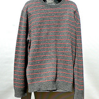 100% LAMBSWOOL Gray Orange Stripe WOOL Crewneck SWEATER Express MENS Size XL