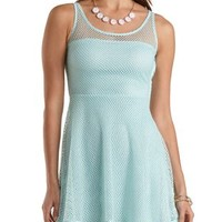 Glitter Fishnet Skater Dress by Charlotte Russe