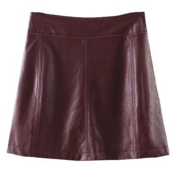Burgundy High Waist PU A-line Skirt