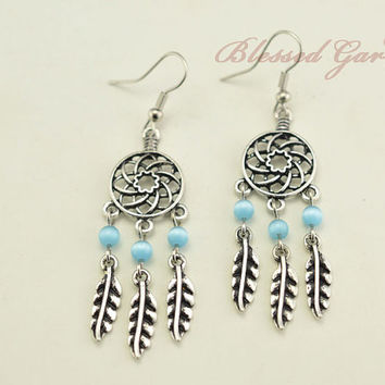 dream catcher earring,turquoise feather earring,gypsy earring, cute earrings,girlfriend gift,bff gift,blessed garden