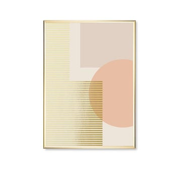 Pink Circle Stripes Shapes,  Pink Shapes, Home Decor, Shapes Print, Real Gold Foil,Modern Art Poster, Geometric Poster, Gold Circle Print,