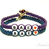 Bae Bracelet Set for Best Friends or Couples, Dark Purple and Teal Macrame Hemp Jewelry