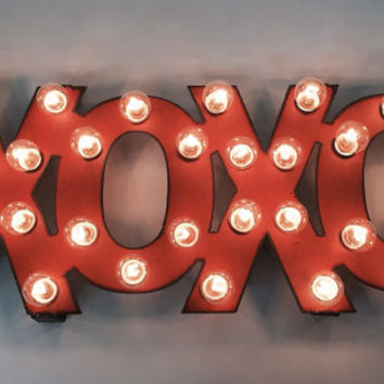 XOXO Hugs and Kisses Valentine Lighted Marquee Wedding Love Sign made of Rusted Recycled Metal Vintage Inspired