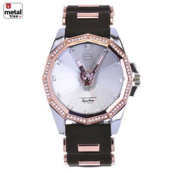 Jewelry Kay style Men's Iced Out Rose Gold Plated Silicone Band Techno Pave Watches WR 8426 RGBK