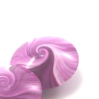 Lentil Beads, Polymer Clay swirl beads in pink and white, unique pattern, set of 2 Elegant pink beads
