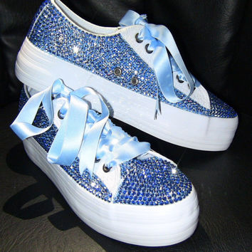 ANGEL STEP sparkly sneakers with original crystals Swarovski, Glitter sneakers, Bling sneakers